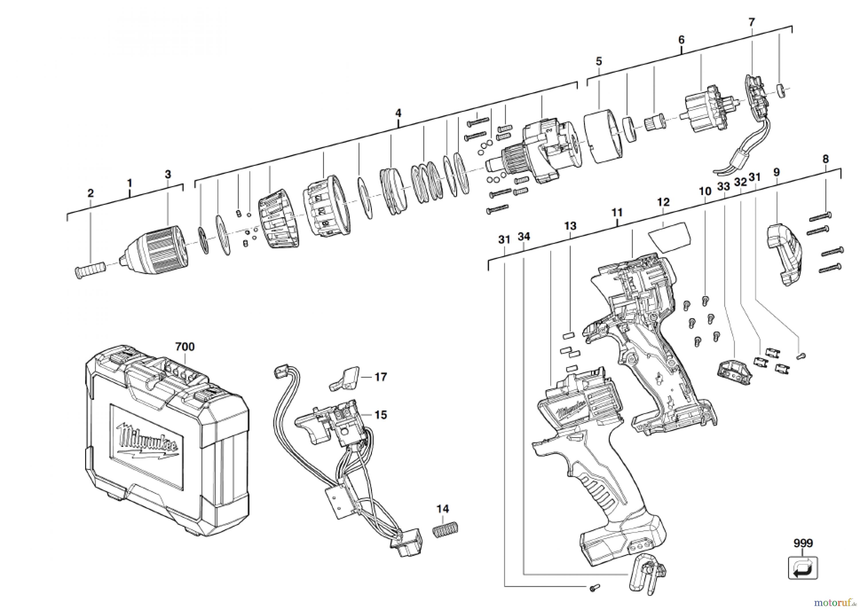 milwaukee akku ger te c18dd 22c akku schrauber spareparts. Black Bedroom Furniture Sets. Home Design Ideas