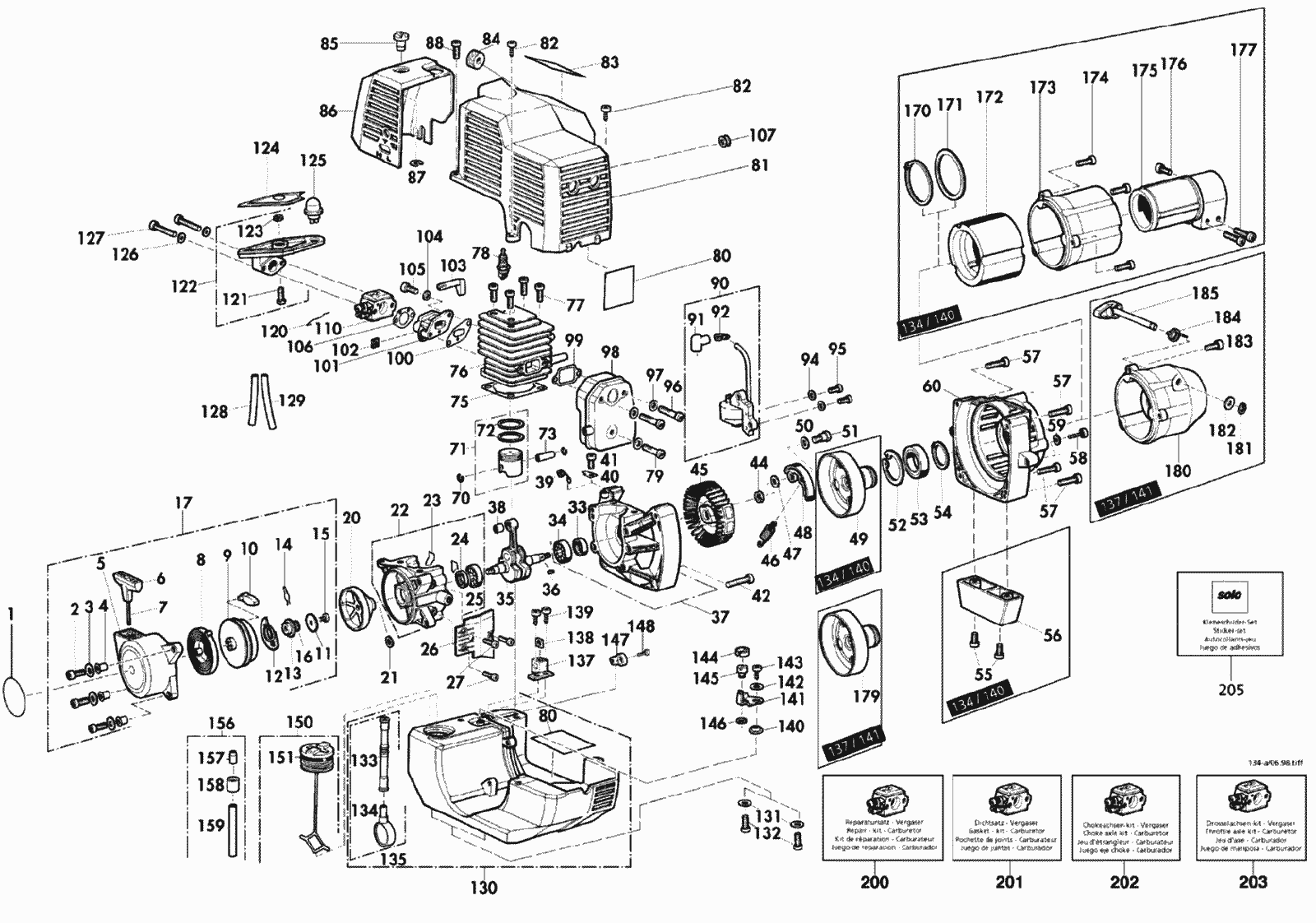 spare parts lists for solo motorised trimmers engine
