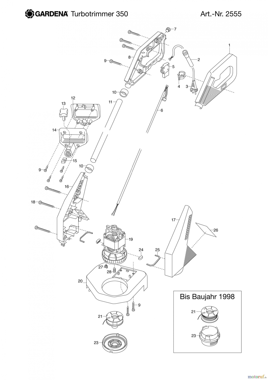 gardena trimmer turbotrimmer 350 spareparts. Black Bedroom Furniture Sets. Home Design Ideas