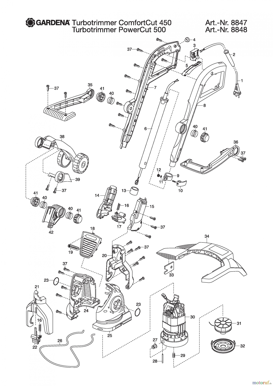 Gardena Trimmer Turbotrimmer Comfortcut 450 Spareparts