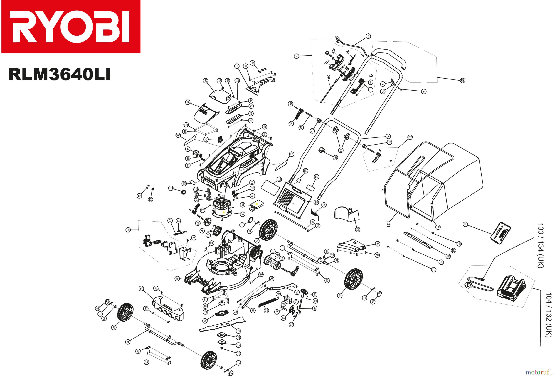Ryobi Spare Parts Uk 790r Diagrams Shoulders Of Shoreham Rasenmher Akku Rlm3640li Spareparts