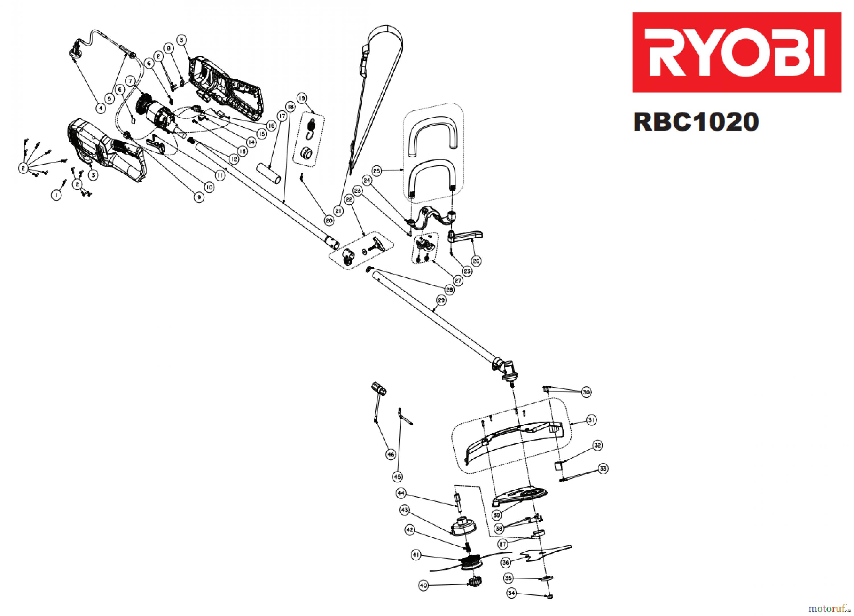 ryobi sensen freischneider elektro rbc1020 spareparts
