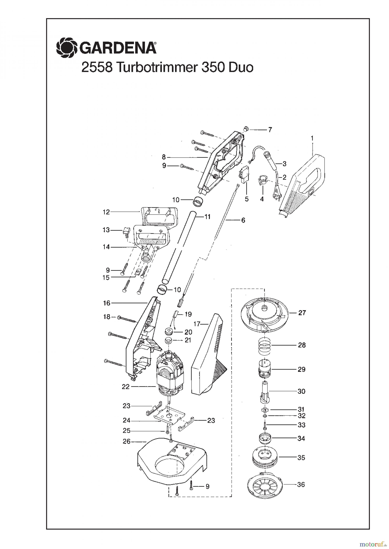 gardena trimmer turbotrimmer 350 duo bis baujahr 2001 spareparts. Black Bedroom Furniture Sets. Home Design Ideas