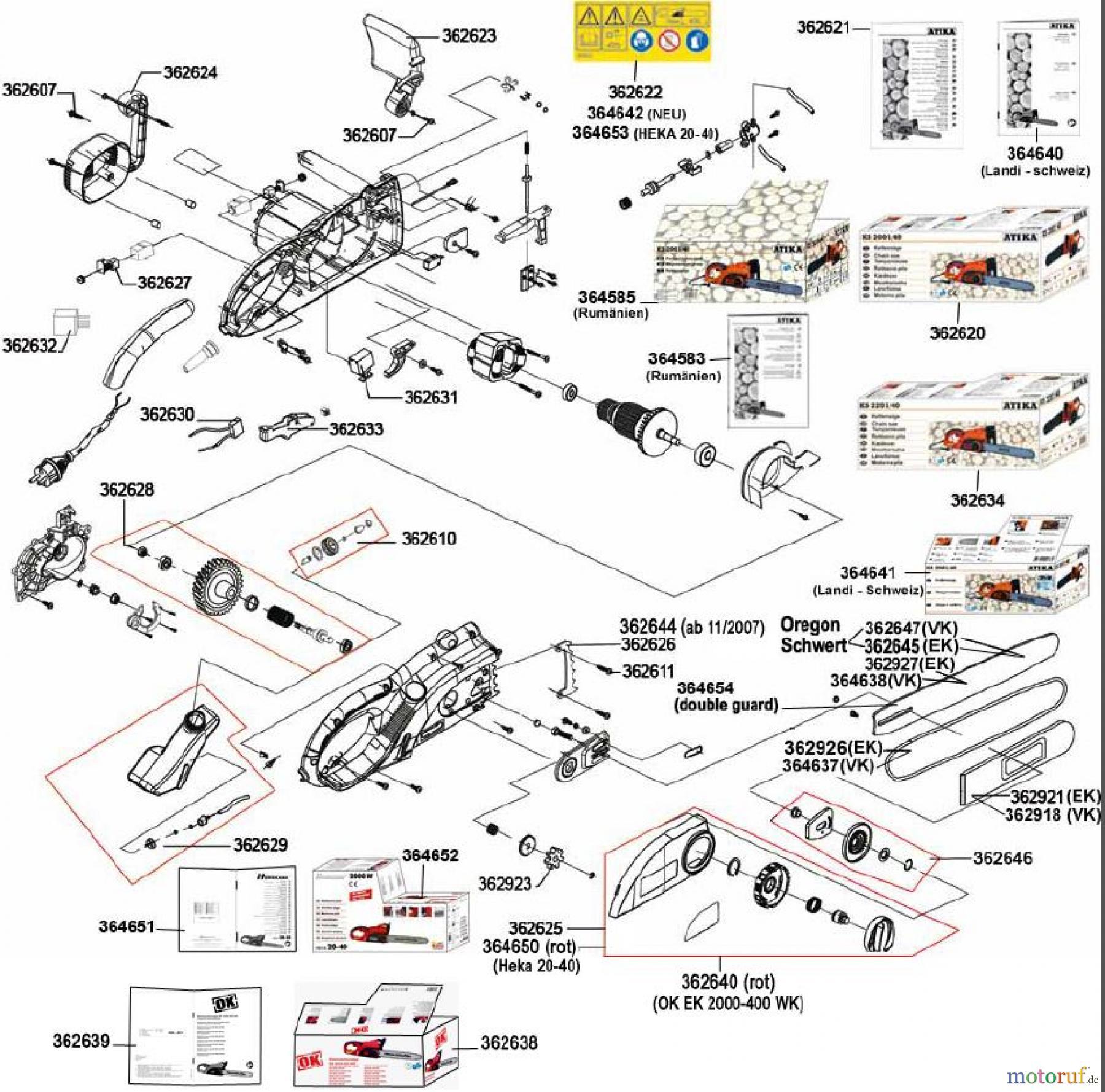 ATIKA Ersatzteil Antriebswelle kpl für Kettensäge KS 1800 ***NEU***
